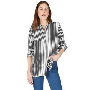 Everlane Relaxed Stripe Collarless Silk Shirt